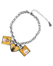 Bracelet avec pendentifs 1 coeur 2 carrés - off