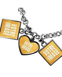 Bracelet photo pendentifs 1 coeur 2 carrés