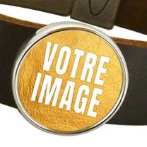 Bracelet photo en cuir marron
