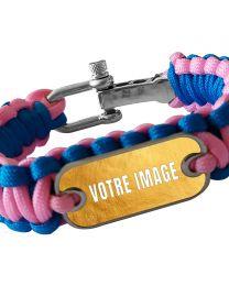 Bracelet photo en paracorde rose et bleu