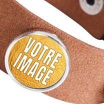 Bracelet photo en suède marron avec 3 cercles