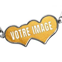 Bracelet photo double coeur