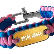 Bracelet photo en paracorde rose et bleu
