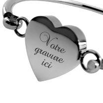 Bracelet gravé métal cœur