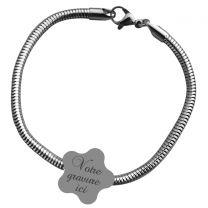 Bracelet charms gravé fleur -on