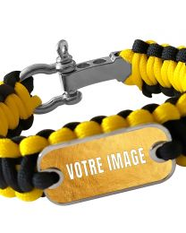 Bracelet photo en paracorde jaune et noir