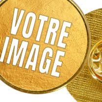 Pin's photo personnalisé rond doré