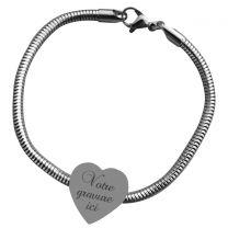 Bracelet charms gravé coeur -off
