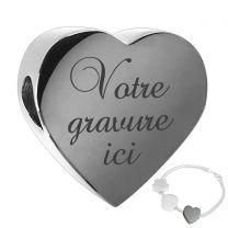 charm bracelet coeur gravé - off