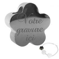charm bracelet fleur gravé - off