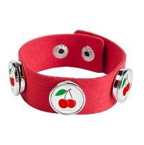 Bracelet photo en suède rouge avec 3 cercles - OFF
