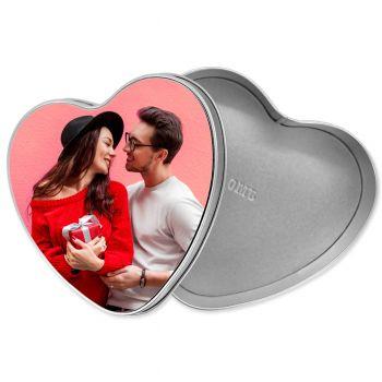 Boîte photo cœur en métal