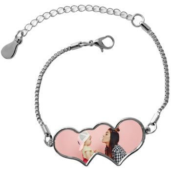 Bracelet photo double coeur