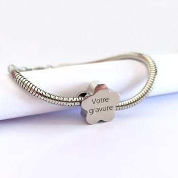 Bracelet gravé charms fleur