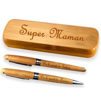 Coffret bambou personnalise deux stylos gravés