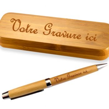Coffret bambou personnalise stylo gravé
