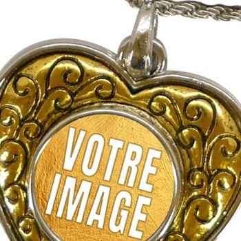Collier photo avec pendentif coeur