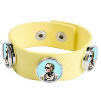 Bracelet photo en suède jaune avec 3 cercles