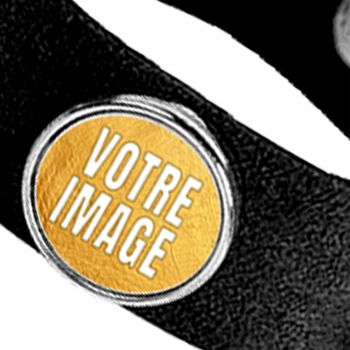 Bracelet photo en suède noire avec 3 cercles