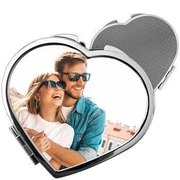 Miroir de poche personnalisé coeur