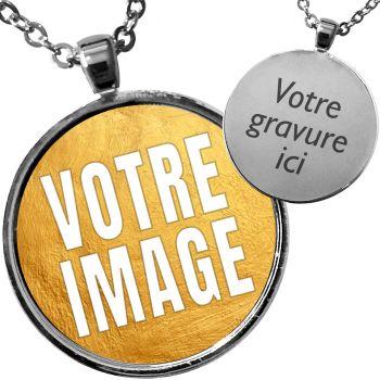 Pendentif personnalisé médaille photo et gravure