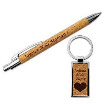 Set stylo porte-cles gravés