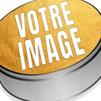 Boîte photo en métal ronde