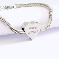 Bracelet gravé charms coeur