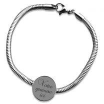 Bracelet charms gravé rond