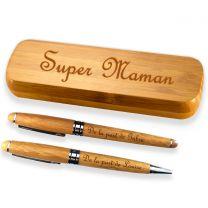 Coffret bambou personnalise deux stylos graves - off