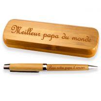 Coffret bambou personnalise stylo gravé - off