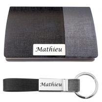 Coffret porte carte de visite porte-clés gravé - off