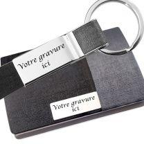 Coffret porte carte de visite porte-clés gravé