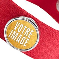 Bracelet photo en suède rouge avec 3 cercles