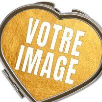 Miroir de poche coeur avec photo