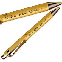 Parure gravée bambou stylo-bille porte-mine