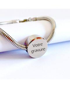 Bracelet gravé charms rond