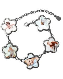 Bracelet personnalisé 5 photos fleurs