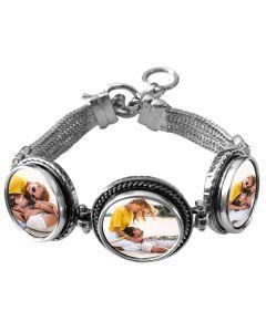 Bracelet photo en métal avec 3 cercles