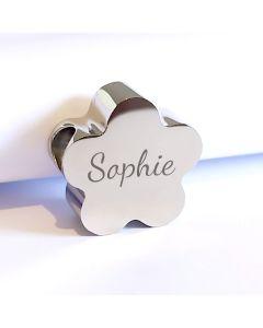 Charm gravé fleur pour bracelet