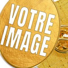 Pin's photo personnalisé ovale doré