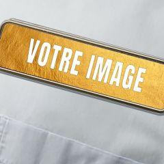 Badge d'identification métallique rectangulaire 71 x 21 mm