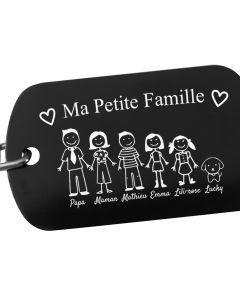 Porte-clés noir gravé ma petite famille