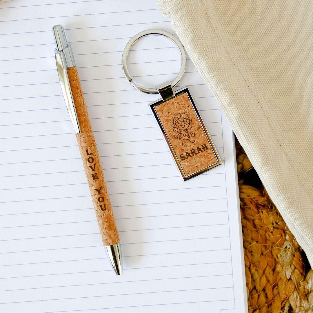 Le coffret cadeau : stylo et porte-clés personnalisé