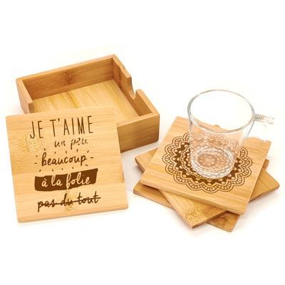 dessous de verre bambou personnalisé cadeau cremaillère