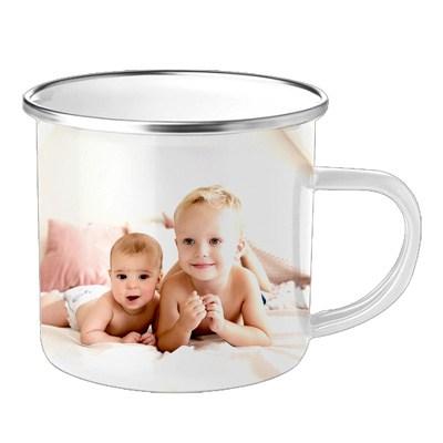 mug personnalisé en métal blanc photo enfants bébés blonds