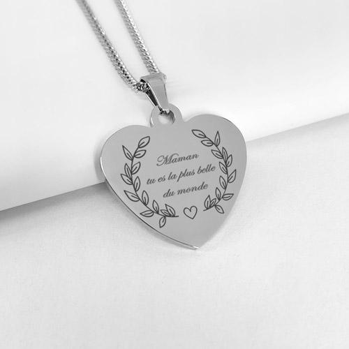 collier personnalisé coeur fête des mères
