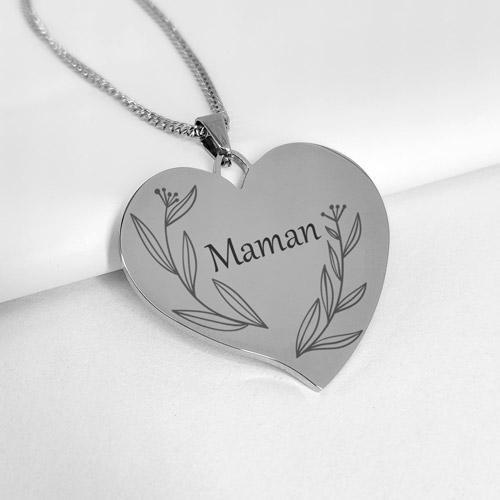 collier metal brillant coeur personnalisé message maman